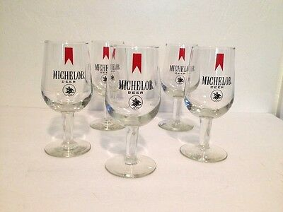 Set of 5 Michelob Beer Tall Stem Footed Goblet Glass Anheuser Busch Collectible