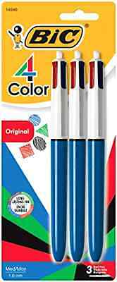 BIC 4-Color Ball Pen, Medium Point (1.0mm), Assorted Ink, 3-Count New .