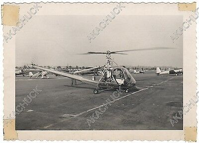 1940s Rare Early Photo HILLER 360 Helicopter VAIL FIELD LOS ANGELES 1948 UH-12