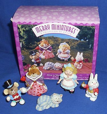 Hallmark Merry Miniatures Alice in Wonderland 1996 Cheshire Hatter Queen Rabbit