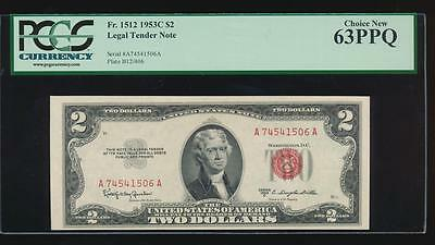 AC 1953C $2 Legal Tender PCGS 63 PPQ uncirculated Fr 1512 GREAT NOTE!!!