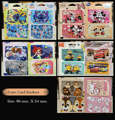 1 Set (2 Cards) Disney Minions IC Card Sticker Credit Card Decal Paper