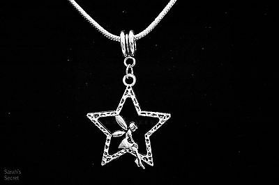 Magical Star Fairy Pendant Necklace with Sterling Silver Snake Chain #J97