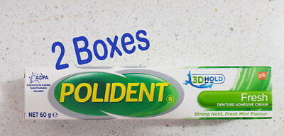 Polident Denture Adhesive Cream Flavour-Fresh 2 boxes of 60g each