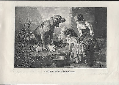 Chidren With Bloodhound And Her Pups Charming Antique Part Page Engraving Print