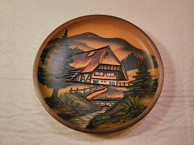 """Edmund Zimmermann Wooden Plate """"Black Forest"""" Hand Carved and Hand Painted"""