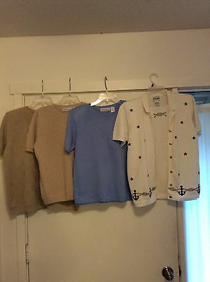 Alfred Dunner Ss Tops Beige S, Blue S, Pxl White With Stars, Beige Pxl Nice!!!