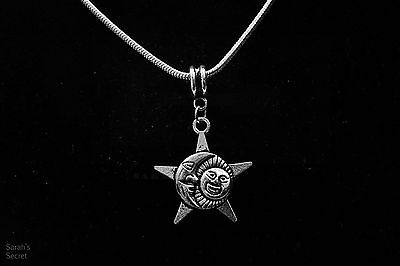 Trio Sun Moon Star Pendant Necklace with Sterling Silver Snake Chain #J825