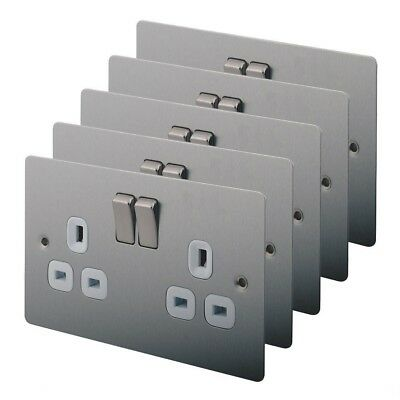 13A 2-Gang DP Switched Plug Socket Brushed Stainless Steel Pack of 5