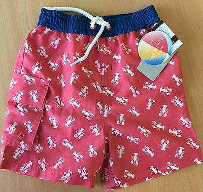 Baby Boy Red with White Lobsters detail Swim Shorts