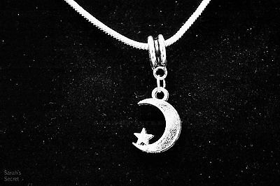 Celestial Moon Star Pendant Necklace with Sterling Silver Snake Chain #J145