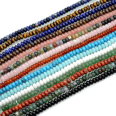 """5x8mm Natural Gemstones Rondelle Loose Beads 15.5"""" Lot Jewelry Design Wholesale"""