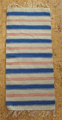 Swedish woven wool runner, trad. pattern in blue and red on light beige, fringes