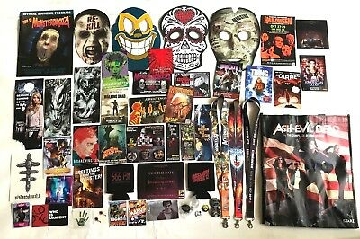 Sdcc 2016 Famous Monsters Lanyard Ackerman Scream Factory Buttons Promo Lot