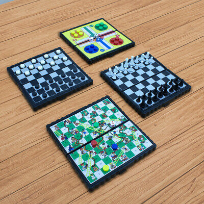 Set of 4 Magnetic Travel Board Games Ludo Snake and Ladders Draughts Home NEW UK