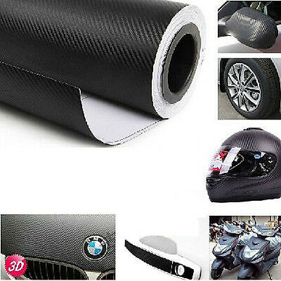 New 3D Black Carbon Fiber Vinyl Wrap Roll Self Adhesive Car Sticker 1.27M x 30cm