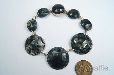ANTIQUE ENGLISH LATE VICTORIAN 9K GOLD FACETED MOSS AGATE BRACELET c1880