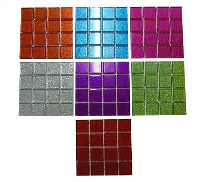 224 Pieces Glitter Glass Mosaics Tiles Art Crafts Mosaic Pieces Multi Colour CS1