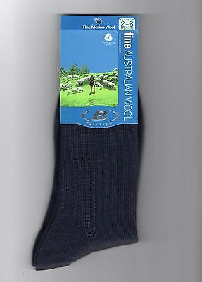 3 Pairs Fine Merino Wool Blend Navy Australian Made Dress Socks Ladies Size 2-8