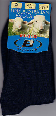 3 Pairs - Kids Merino Wool School Socks NAVY Size 13-3 / Ages 8-11 Approx.