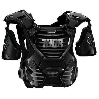 THOR MX Motocross GUARDIAN Chest Protector/Roost Guard (Black/Silver) MD-LG