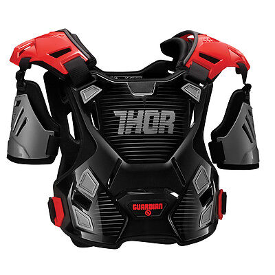 THOR MX Motocross Kids GUARDIAN Chest Protector/Roost Guard BLK/RED Choose Size