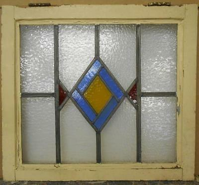 """MID SIZED OLD ENGLISH LEADED STAINED GLASS WINDOW Beautiful Geo 23.25"""" x 21"""""""