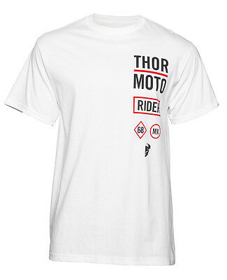 THOR MX Motocross Men's 2017 ROCKER Short Sleeve Tee T-Shirt (White) L (Large)