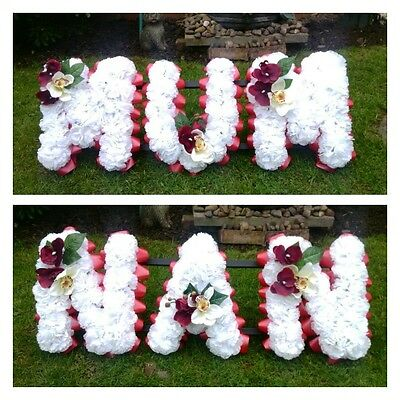 Artificial Funeral Tribute Flowers, Memorial Grave, Mum And Nan In White