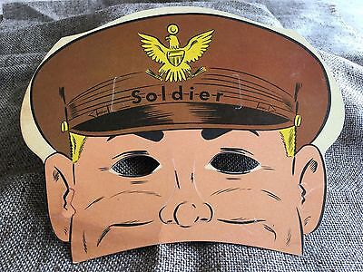 Vintage 1950s Litho SOLDIER Cardboard Paper MASK Halloween,Party,Who Am I? Game