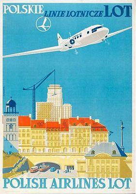 Vintage Lot Polish Airlines Poster Print A3//A4
