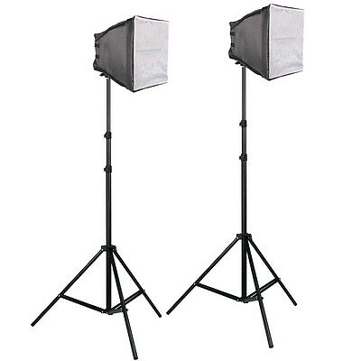 Pro PBL LED 2 Light Kit Photo Video 18in Softboxes Metal Body Construction