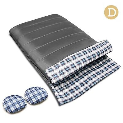 NEW Compact Extra Wide Double Size Outdoor Camping Envelope Sleeping Bag - Grey