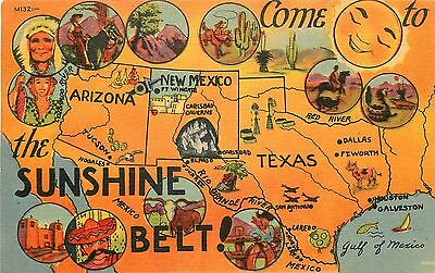 Illustrated Map of the Sunshine Belt - Arizona to Texas 1940s Linen Postcard