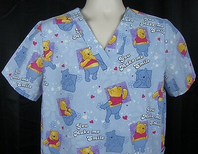 Disney Winnie the Pooh You Make Me Smile Womens Scrub Top Small S Blue Flowers
