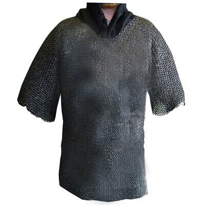 Flat Riveted W/ Flat Washer Chainmail Shirt Black Chainmail Haubergeon z1