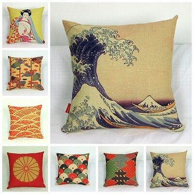 Cushion Cover Pillow Case Japanese Pattern Geisha Double Sided Printing Bar
