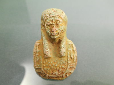 Old Egyptian Blue Glazed Or Painted Small Stone Pharaoh King Queen God Bust Head