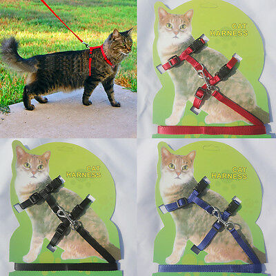 Nylon Lead Leash Pet Collar Safety Adjustable Strap Rope Cat Harness Belt Kitten