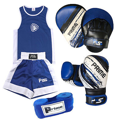 Blue Kids boxing set 3 Pcs Uniform + Boxing Gloves 1012 + Focus pads 1106 Set-14