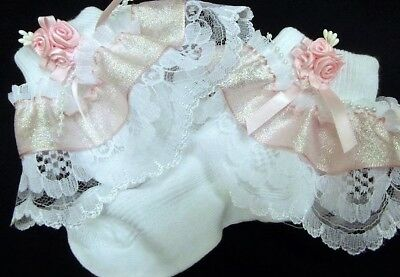 DREAM  BABY PINK CRYSTAL ROMANY FRILLY SOCKS ALL SIZESavailable or reborn dolls