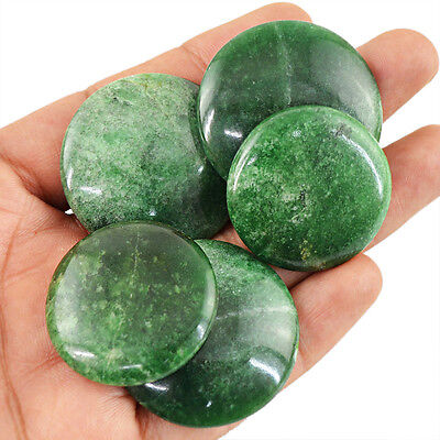 264.95 Cts / 5 Pcs Natural Untreated Rich Green Jade Round Shaped Gemstone Lot