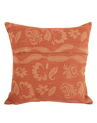 Traditional Indian Solid Ivory Yarn Dyed Floral Cushion Cover Pillow Case 16""