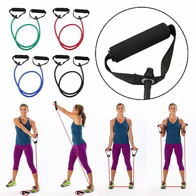 Resistance Tube Set Home Gym Fitness Exercise Workout Heavy Handles Yoga Band SG
