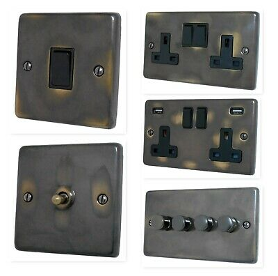 Aged Antique Brass CANB Light Switches, Plug Sockets, Dimmers, Cooker, Fuse, TV