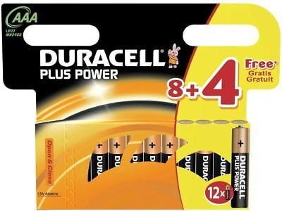 Genuine Duracell Plus Power Duralock AAA 1.5V Alkaline LR03 Batteries - 12 Pack