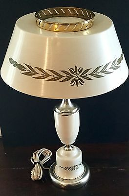 Old Vtg Tole Metal Floral Shade Shield Glass Globe Electric Table Light Lamp