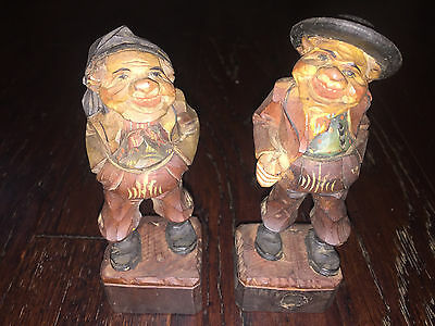 Set of 2 Vintage Handcarved & Handpainted Wooden Figures, Franco Made In Italy