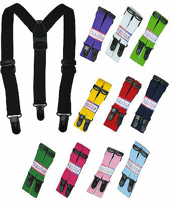 Trousers brace straps, Unisex Childrens' adjustable straps with plastic clips
