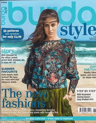 Burda Style Mag 8/2016 - Dress Skirt Cape Top Uncut Patterns 55 Different Styles